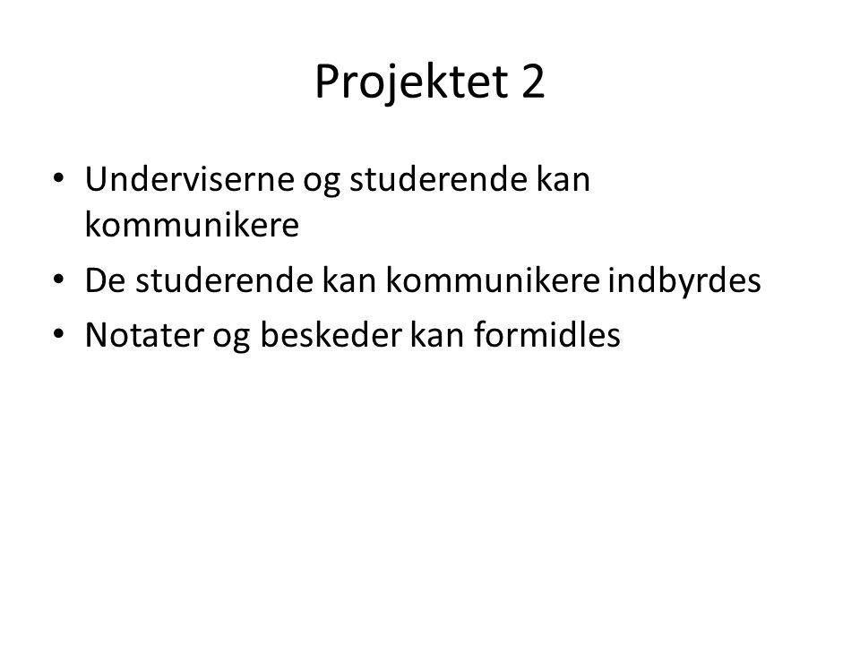 Projektet 2 • Underviserne og studerende kan kommunikere • De studerende kan kommunikere indbyrdes • Notater og beskeder kan formidles