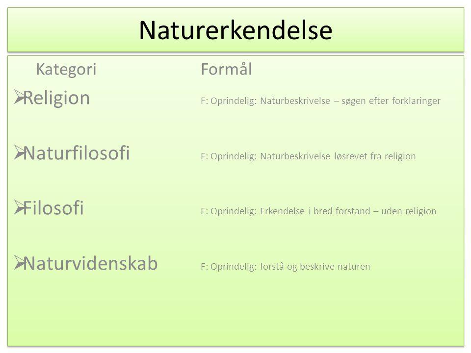 Naturerkendelse KategoriFormål  Religion F: Oprindelig: Naturbeskrivelse – søgen efter forklaringer F: I dag: .