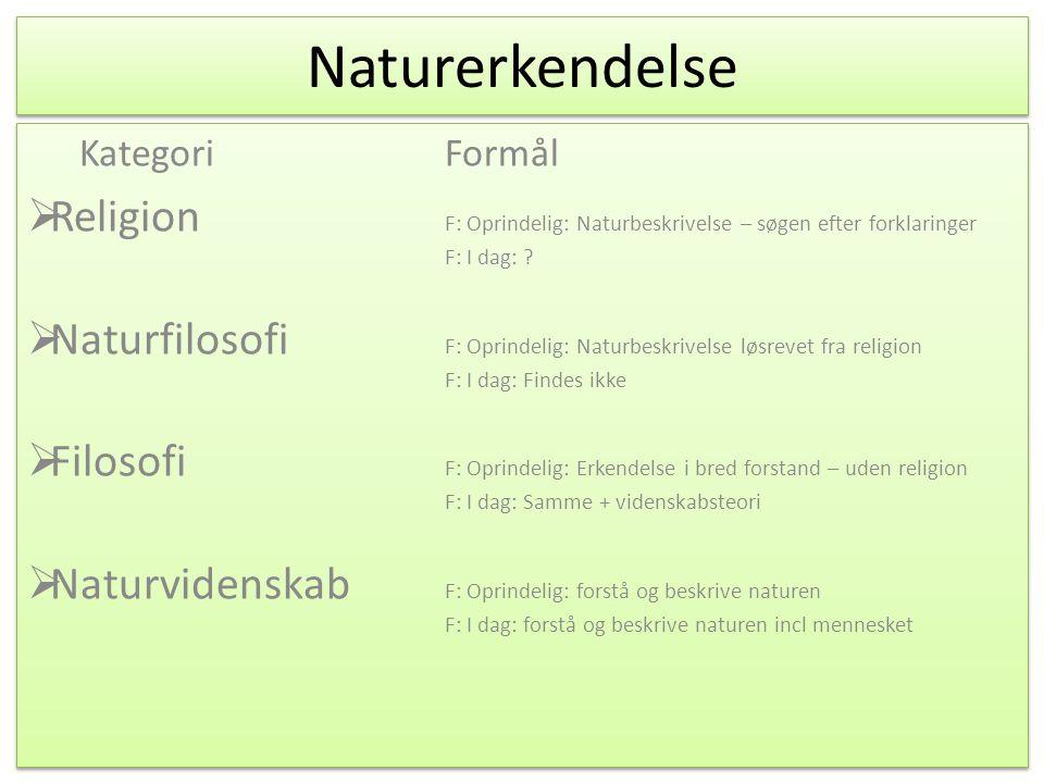 Naturerkendelse KategoriFormål / Begrundelse  Religion F: Oprindelig: Naturbeskrivelse – søgen efter forklaringer F: I dag: .