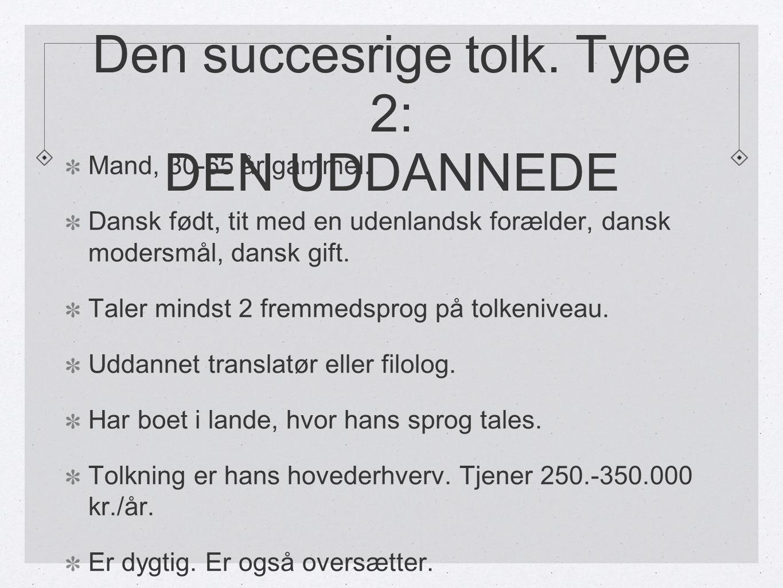 Den succesrige tolk. Type 2: DEN UDDANNEDE Mand, 30-65 år gammel.