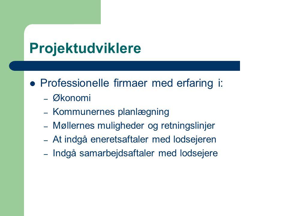 Projektudviklere  Professionelle firmaer med erfaring i: – Økonomi – Kommunernes planlægning – Møllernes muligheder og retningslinjer – At indgå eneretsaftaler med lodsejeren – Indgå samarbejdsaftaler med lodsejere