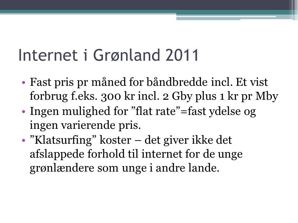 Internet i Grønland 2011 •Fast pris pr måned for båndbredde incl.