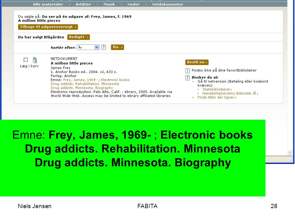 Niels JensenFABITA28 Emne: Frey, James, 1969- ; Electronic books Drug addicts.