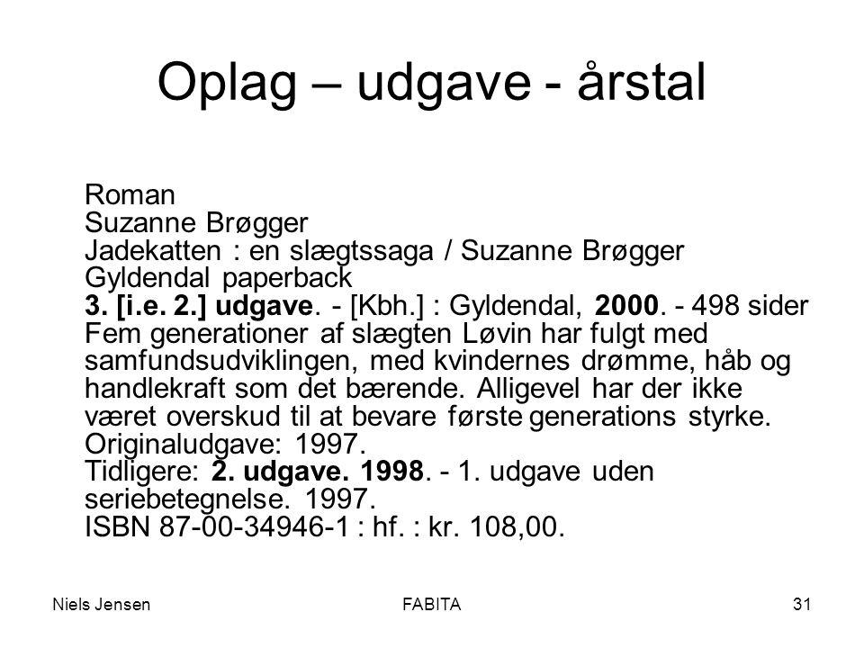 Niels JensenFABITA31 Oplag – udgave - årstal Roman Suzanne Brøgger Jadekatten : en slægtssaga / Suzanne Brøgger Gyldendal paperback 3.
