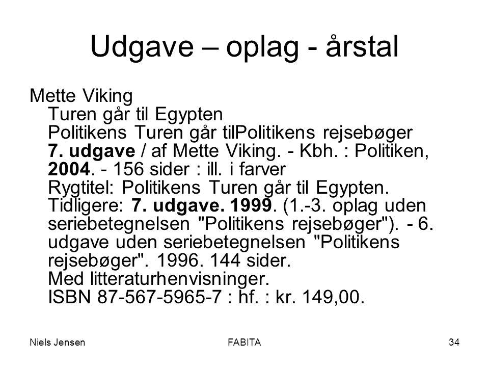 Niels JensenFABITA34 Udgave – oplag - årstal Mette Viking Turen går til Egypten Politikens Turen går tilPolitikens rejsebøger 7.