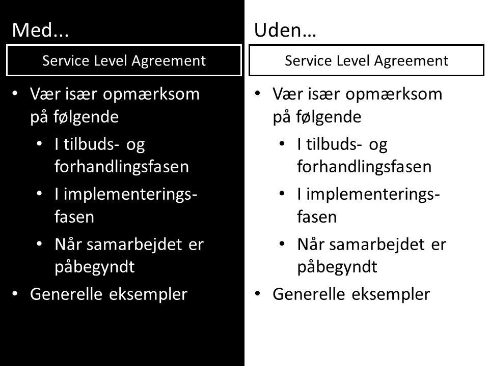 Med...Uden… • Vær især opmærksom på følgende • I tilbuds- og forhandlingsfasen • I implementerings- fasen • Når samarbejdet er påbegyndt • Generelle e