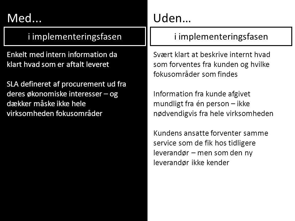 Med...Uden… Enkelt med intern information da klart hvad som er aftalt leveret SLA defineret af procurement ud fra deres økonomiske interesser – og dæk
