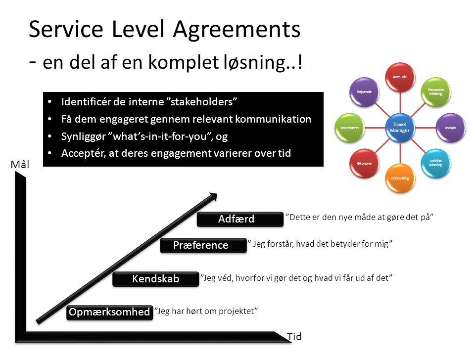 Service Level Agreements - en del af en komplet løsning..! Travel Manager Adm. dir. Personale Afdeling Indkøb Juridisk Afdeling ControllingØkonomiSekr
