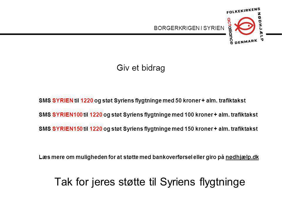 Underrubrik 22 pkt Brødtekst 14 pkt her Brødtekst starter uden bullets, hvis du vil have bullets brug Forøge / Formindske indryk for at få de forskellige niveauer frem SMS SYRIEN til 1220 og støt Syriens flygtninge med 50 kroner + alm.