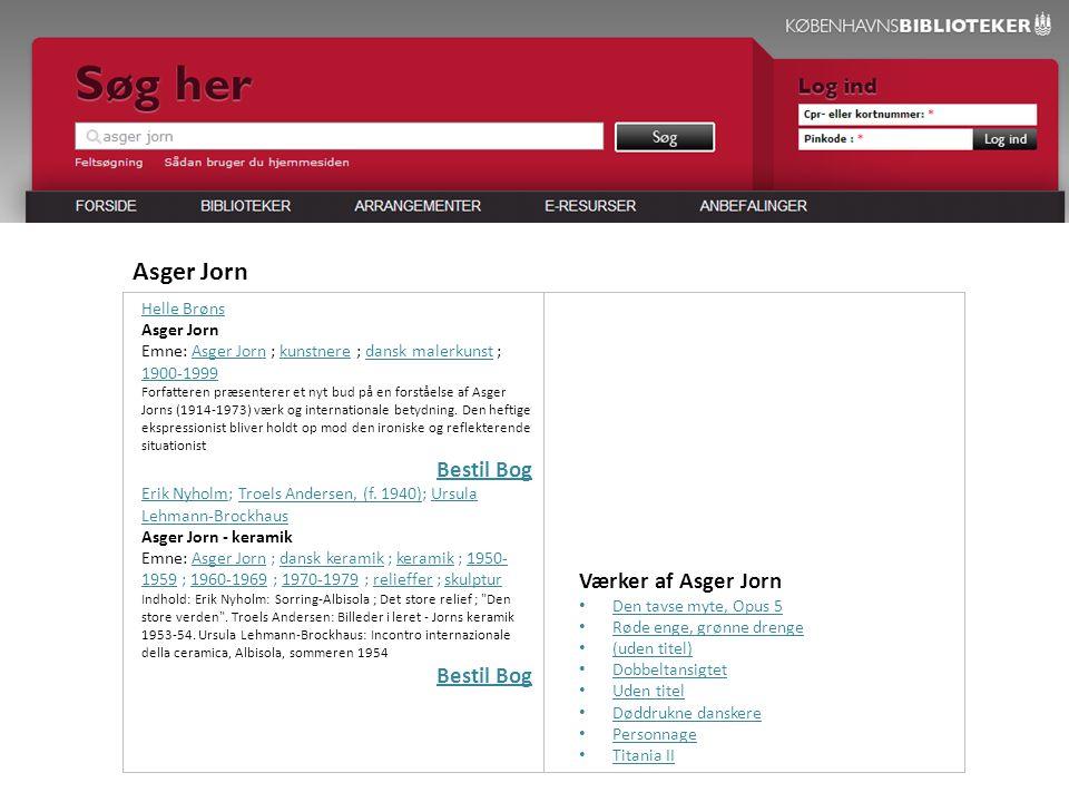 Helle Brøns Asger Jorn Emne: Asger Jorn ; kunstnere ; dansk malerkunst ; 1900-1999 Forfatteren præsenterer et nyt bud på en forståelse af Asger Jorns (1914-1973) værk og internationale betydning.