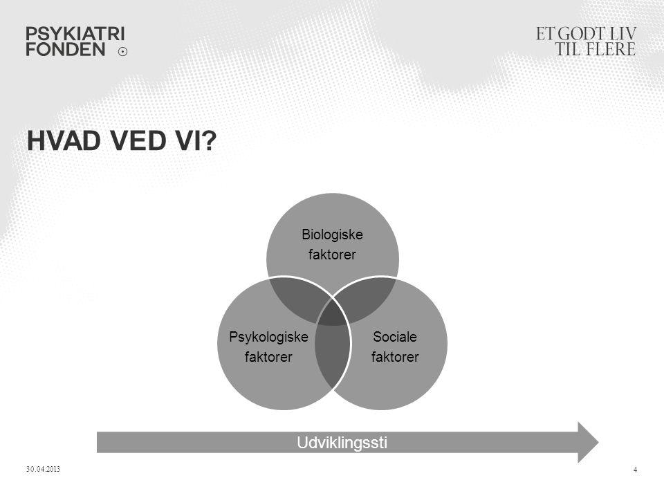 HVAD VED VI Biologiske faktorer Sociale faktorer Psykologiske faktorer 30.04.2013 4 Udviklingssti