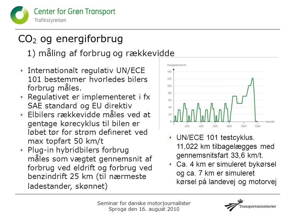 CO 2 og energiforbrug 1) måling af forbrug og rækkevidde Seminar for danske motorjournalister Sprogø den 16.