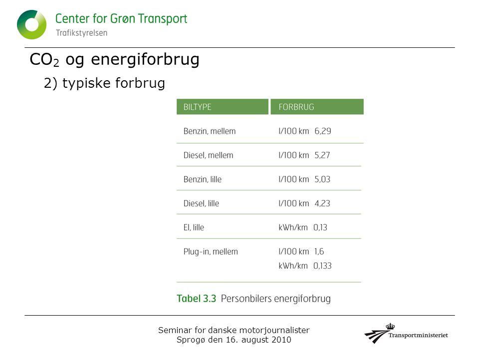 CO 2 og energiforbrug 2) typiske forbrug Seminar for danske motorjournalister Sprogø den 16.