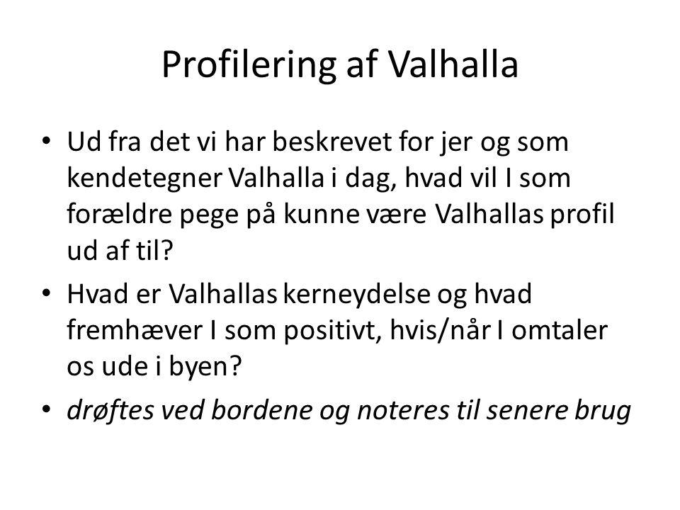 Profilering af Valhalla • Ud fra det vi har beskrevet for jer og som kendetegner Valhalla i dag, hvad vil I som forældre pege på kunne være Valhallas profil ud af til.
