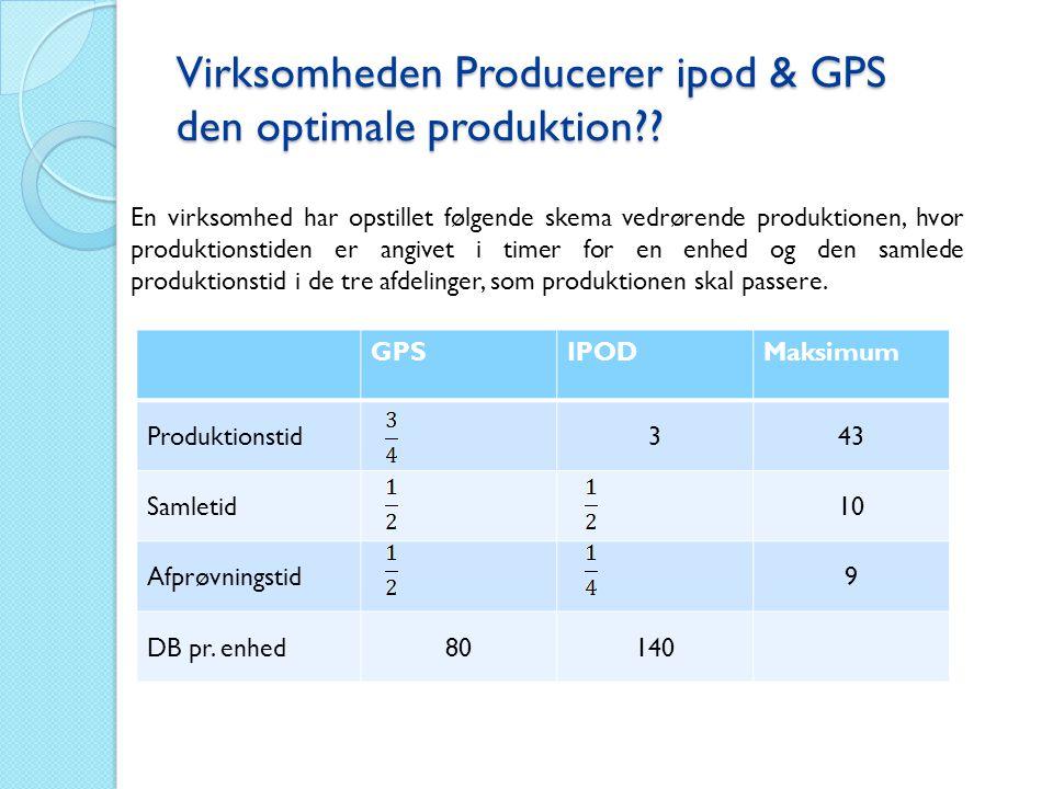 Virksomheden Producerer ipod & GPS den optimale produktion?? En virksomhed har opstillet følgende skema vedrørende produktionen, hvor produktionstiden