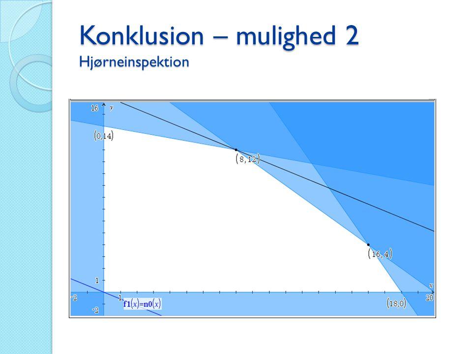 Konklusion – mulighed 2 Hjørneinspektion