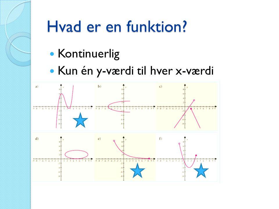 Lineære funktioner  Ret linje i koordinatsystem  f(x)=ax+b ◦ a = hældningen ◦ b = skæringen med y-aksen ◦ x = tiden  Bestemmelse af a og b ◦ Evt.