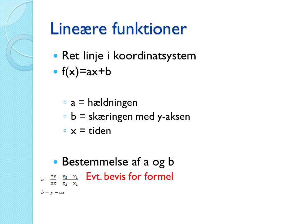 Lineære funktioner  Ret linje i koordinatsystem  f(x)=ax+b ◦ a = hældningen ◦ b = skæringen med y-aksen ◦ x = tiden  Bestemmelse af a og b ◦ Evt. b