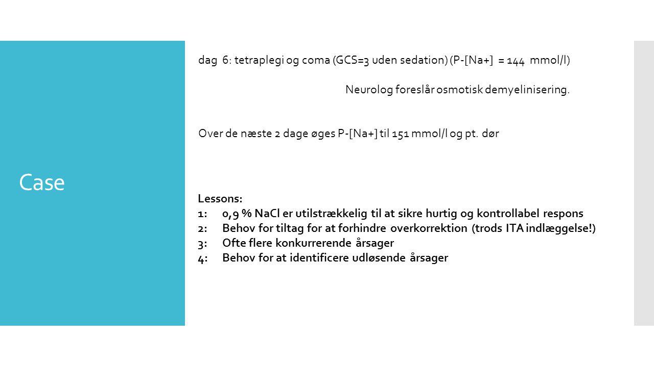 Case dag 6: tetraplegi og coma (GCS=3 uden sedation) (P-[Na+] = 144 mmol/l) Neurolog foreslår osmotisk demyelinisering.