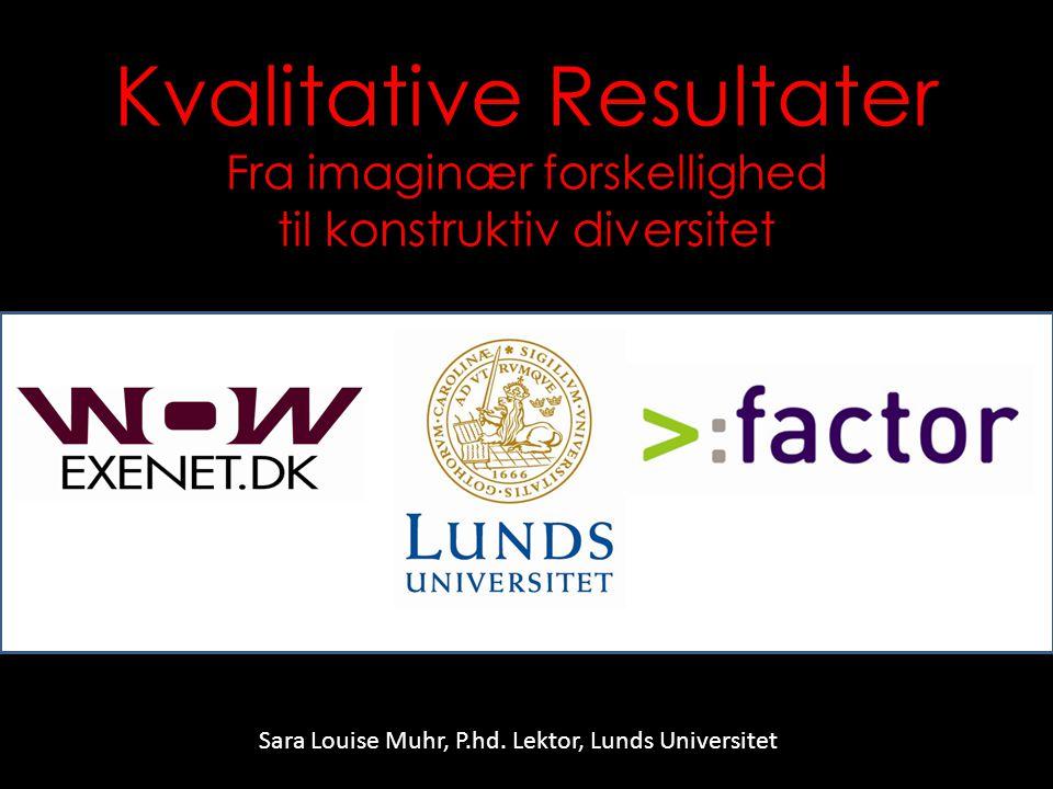 Kvalitative Resultater Fra imaginær forskellighed til konstruktiv diversitet Sara Louise Muhr, P.hd.