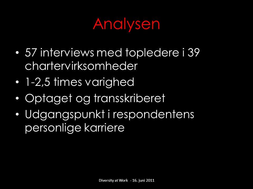 Analysen • 57 interviews med topledere i 39 chartervirksomheder • 1-2,5 times varighed • Optaget og transskriberet • Udgangspunkt i respondentens personlige karriere Diversity at Work - 16.