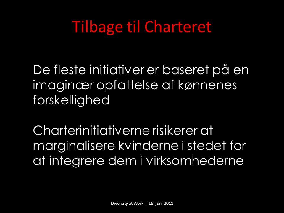 De fleste initiativer er baseret på en imaginær opfattelse af kønnenes forskellighed Charterinitiativerne risikerer at marginalisere kvinderne i stedet for at integrere dem i virksomhederne Tilbage til Charteret Diversity at Work - 16.