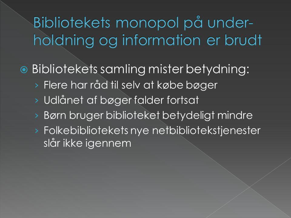  Bibliotekets samling mister betydning: › Flere har råd til selv at købe bøger › Udlånet af bøger falder fortsat › Børn bruger biblioteket betydeligt mindre › Folkebibliotekets nye netbibliotekstjenester slår ikke igennem