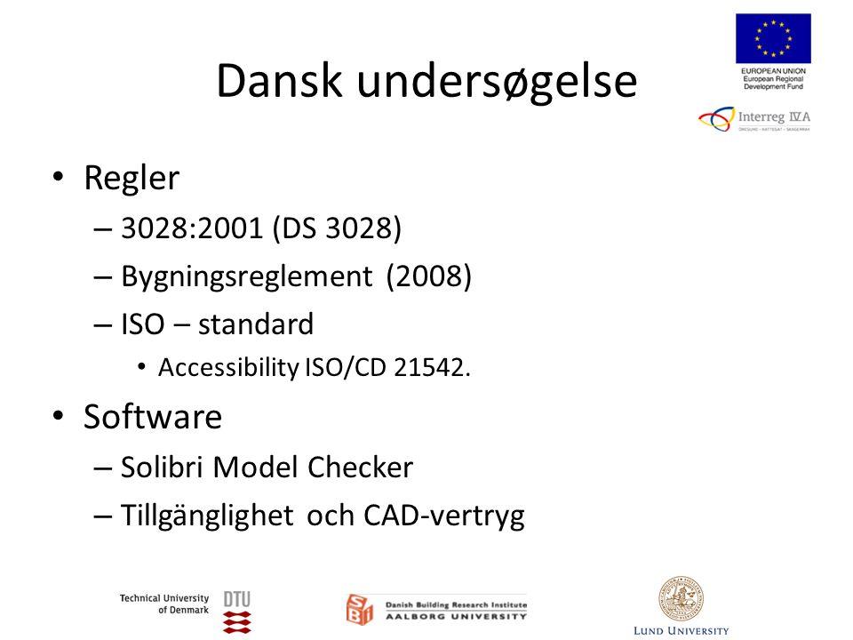 Dansk undersøgelse • Regler – 3028:2001 (DS 3028) – Bygningsreglement (2008) – ISO – standard • Accessibility ISO/CD 21542.