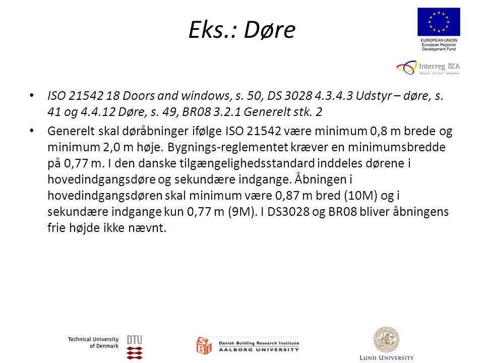 Eks.: Døre • ISO 21542 18 Doors and windows, s. 50, DS 3028 4.3.4.3 Udstyr – døre, s.