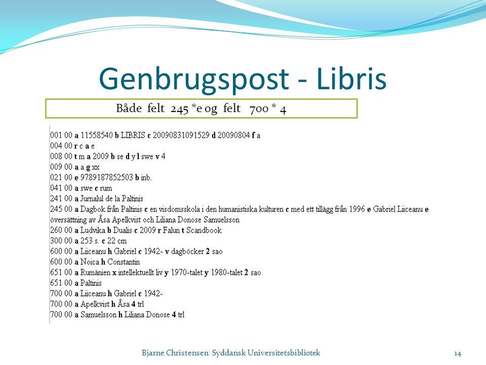 Genbrugspost - Libris Bjarne Christensen Syddansk Universitetsbibliotek14 Både felt 245 *e og felt 700 * 4
