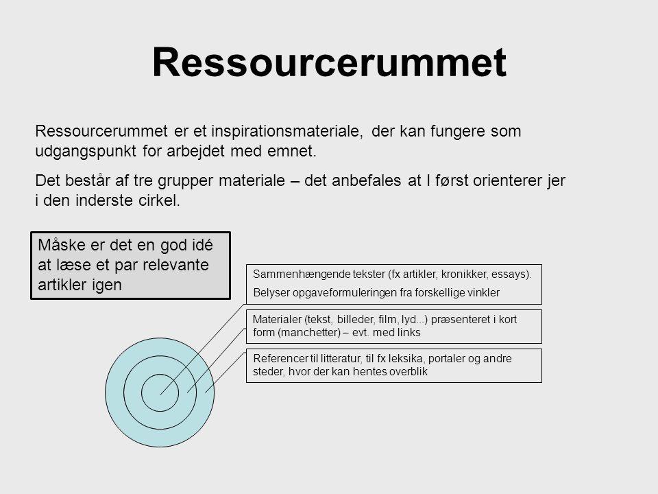 Ressourcerummet Sammenhængende tekster (fx artikler, kronikker, essays). Belyser opgaveformuleringen fra forskellige vinkler Materialer (tekst, billed