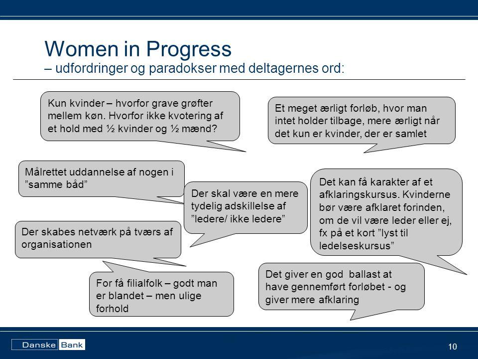 Women in Progress – udfordringer og paradokser med deltagernes ord: 10 Kun kvinder – hvorfor grave grøfter mellem køn.