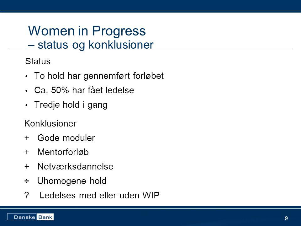 Women in Progress – status og konklusioner 9 Status • To hold har gennemført forløbet • Ca.