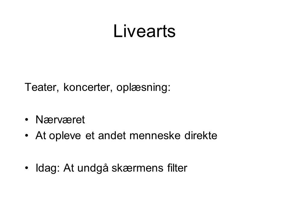 Livearts Teater, koncerter, oplæsning: •Nærværet •At opleve et andet menneske direkte •Idag: At undgå skærmens filter