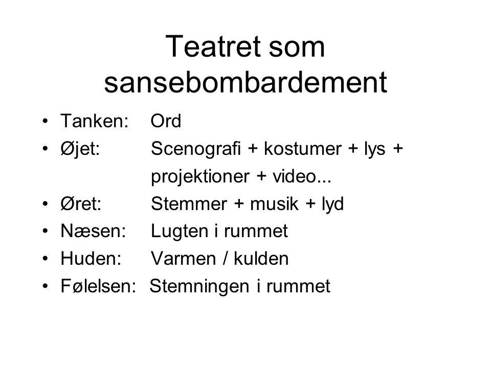 Teatret som sansebombardement •Tanken: Ord •Øjet: Scenografi + kostumer + lys + projektioner + video...