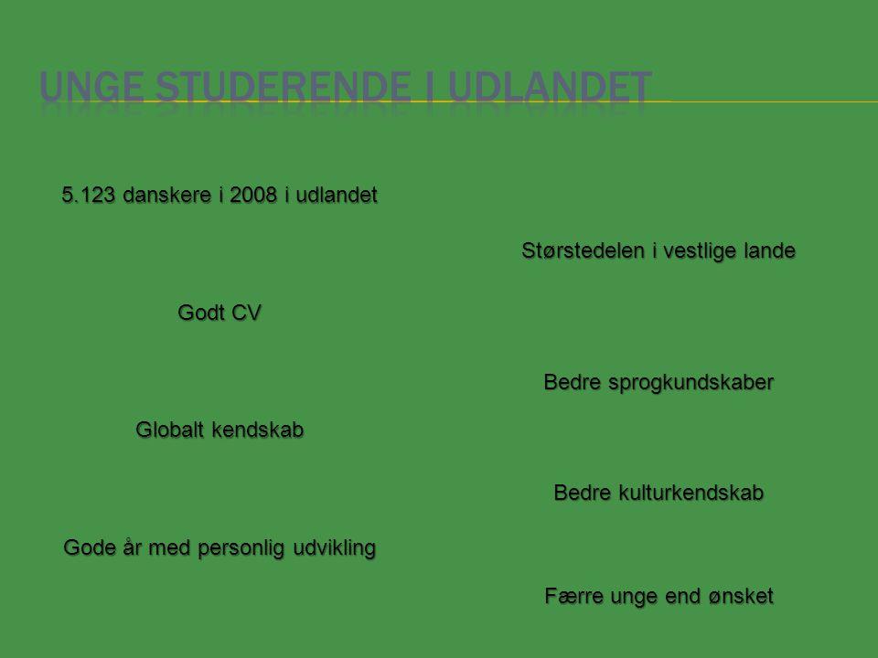 5.123 danskere i 2008 i udlandet Godt CV Størstedelen i vestlige lande Bedre sprogkundskaber Bedre kulturkendskab Færre unge end ønsket Globalt kendskab Gode år med personlig udvikling