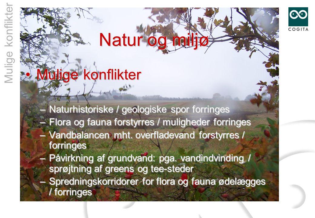 Natur og miljø •Mulige konflikter – Naturhistoriske / geologiske spor forringes – Flora og fauna forstyrres / muligheder forringes – Vandbalancen mht.