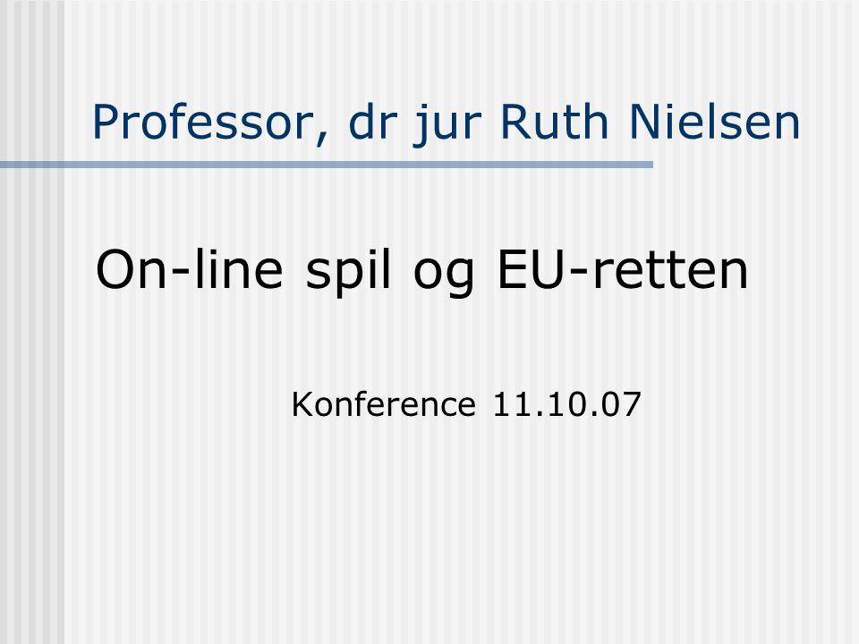 Professor, dr jur Ruth Nielsen On-line spil og EU-retten Konference 11.10.07