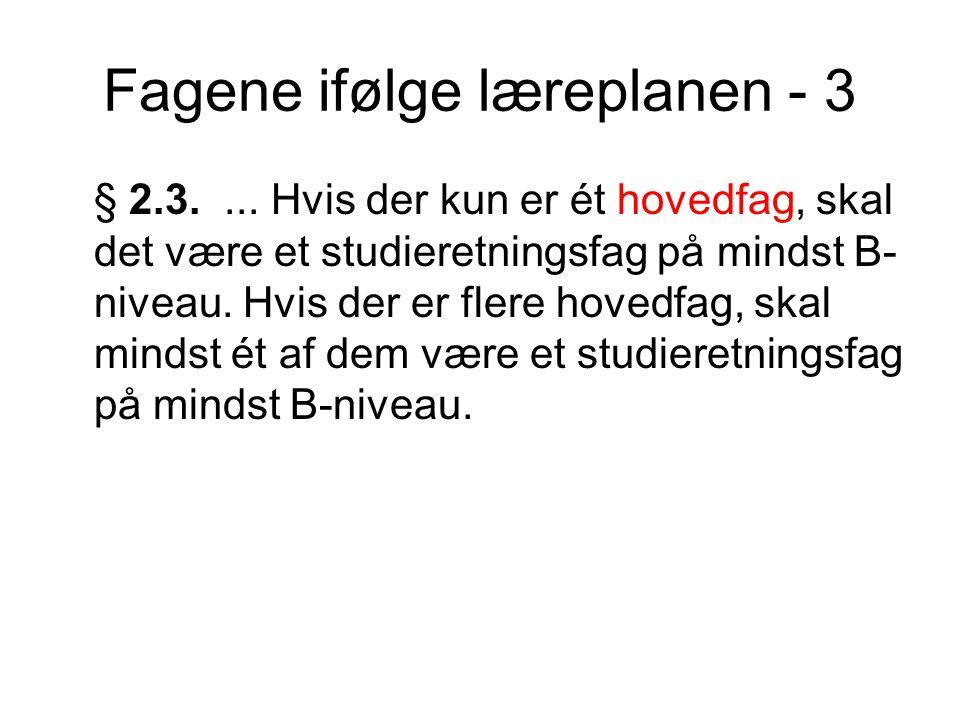 Fagene ifølge læreplanen - 3 § 2.3....