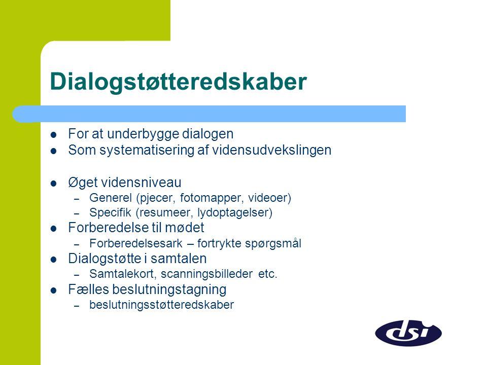 Dialogstøtteredskaber  For at underbygge dialogen  Som systematisering af vidensudvekslingen  Øget vidensniveau – Generel (pjecer, fotomapper, videoer) – Specifik (resumeer, lydoptagelser)  Forberedelse til mødet – Forberedelsesark – fortrykte spørgsmål  Dialogstøtte i samtalen – Samtalekort, scanningsbilleder etc.