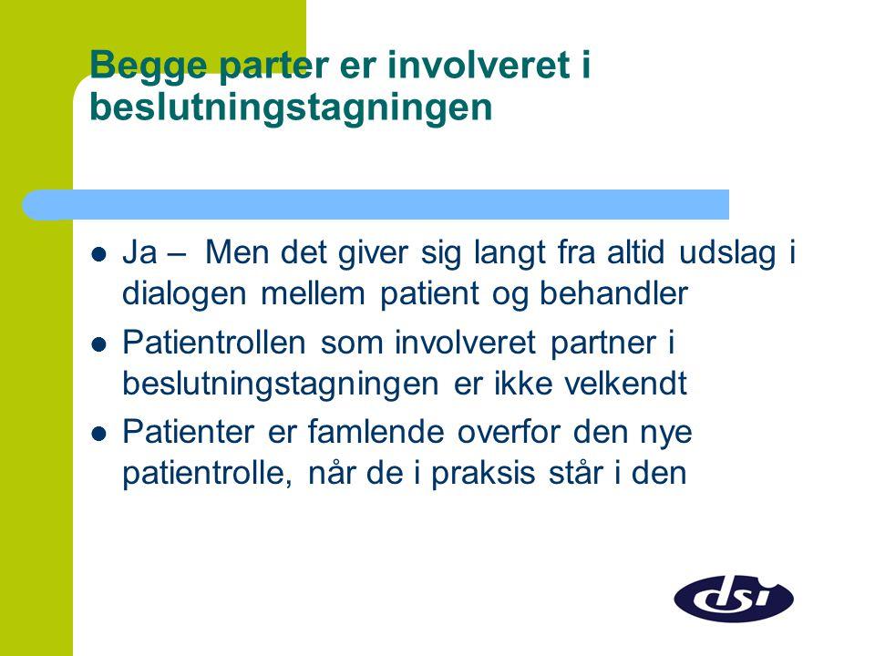 Begge parter er involveret i beslutningstagningen  Ja – Men det giver sig langt fra altid udslag i dialogen mellem patient og behandler  Patientrollen som involveret partner i beslutningstagningen er ikke velkendt  Patienter er famlende overfor den nye patientrolle, når de i praksis står i den
