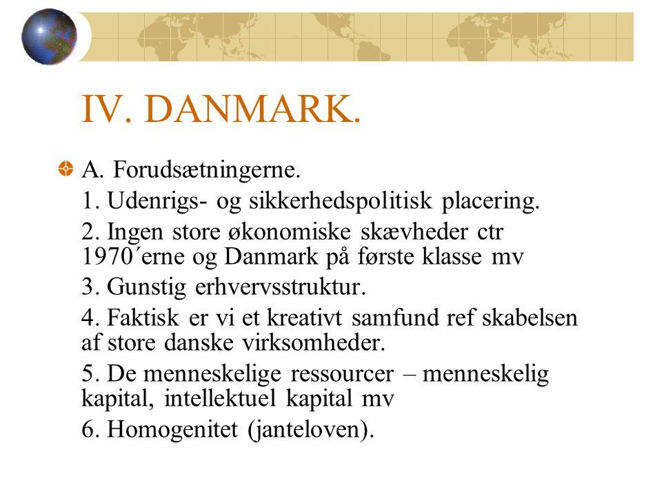 A. Forudsætningerne. 1. Udenrigs- og sikkerhedspolitisk placering.