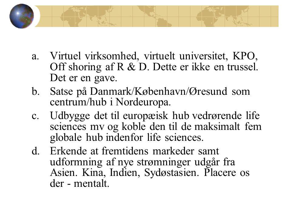 a.Virtuel virksomhed, virtuelt universitet, KPO, Off shoring af R & D.