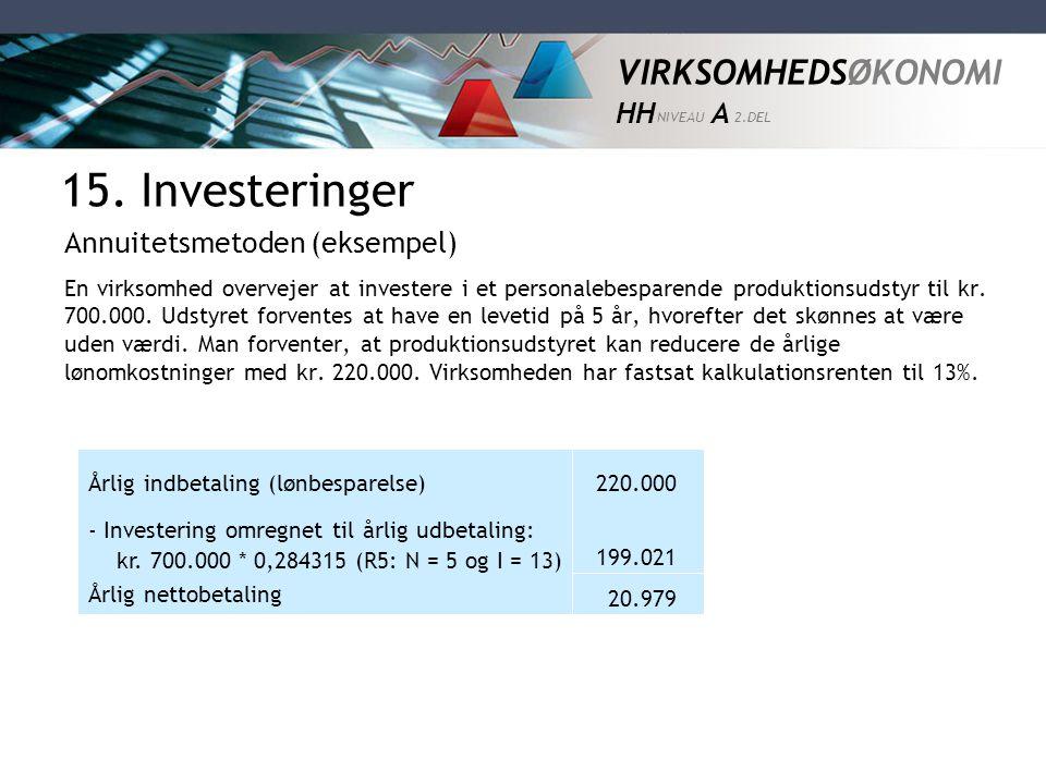 VIRKSOMHEDSØKONOMI HH NIVEAU A 2.DEL En virksomhed overvejer at investere i et personalebesparende produktionsudstyr til kr. 700.000. Udstyret forvent