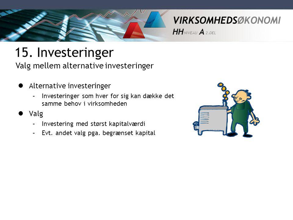 VIRKSOMHEDSØKONOMI HH NIVEAU A 2.DEL  Alternative investeringer –Investeringer som hver for sig kan dække det samme behov i virksomheden  Valg –Inve