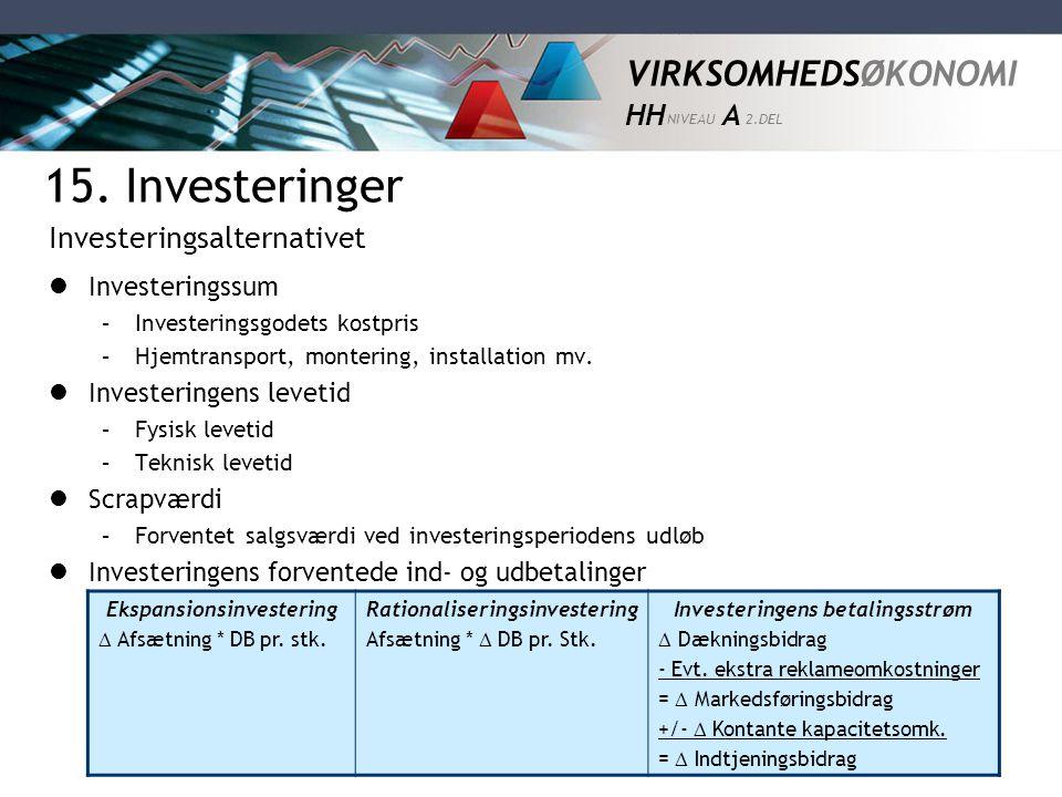 VIRKSOMHEDSØKONOMI HH NIVEAU A 2.DEL 15. Investeringer  Investeringssum –Investeringsgodets kostpris –Hjemtransport, montering, installation mv.  In