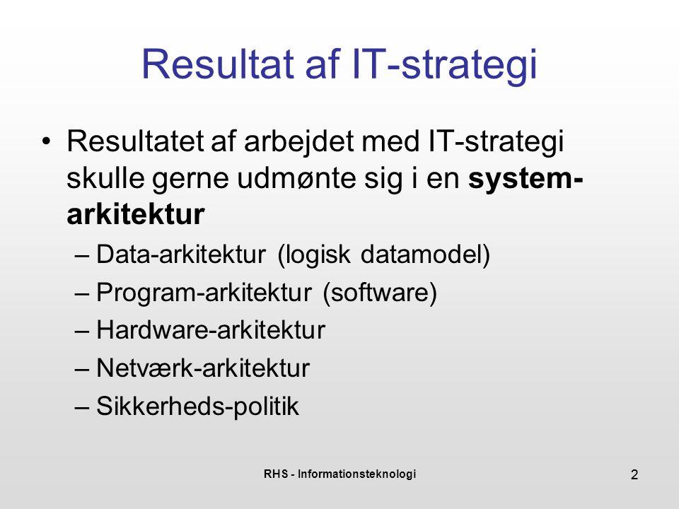RHS - Informationsteknologi 22 Resultat af IT-strategi •Resultatet af arbejdet med IT-strategi skulle gerne udmønte sig i en system- arkitektur –Data-arkitektur (logisk datamodel) –Program-arkitektur (software) –Hardware-arkitektur –Netværk-arkitektur –Sikkerheds-politik