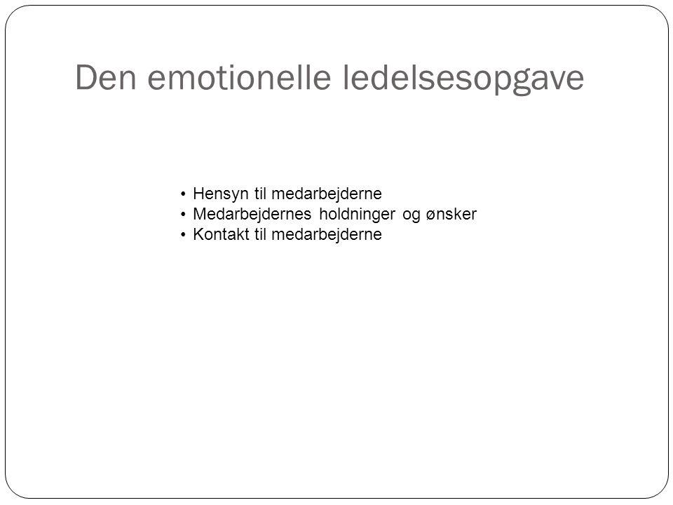 Den emotionelle ledelsesopgave 10 •Hensyn til medarbejderne •Medarbejdernes holdninger og ønsker •Kontakt til medarbejderne