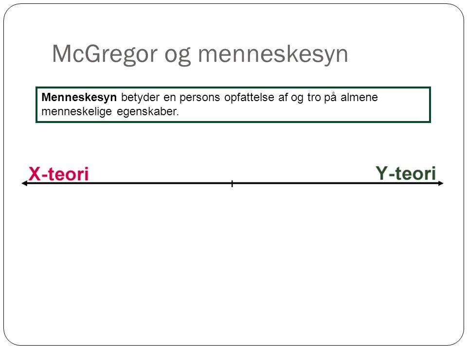 McGregor og menneskesyn 3 Menneskesyn betyder en persons opfattelse af og tro på almene menneskelige egenskaber.