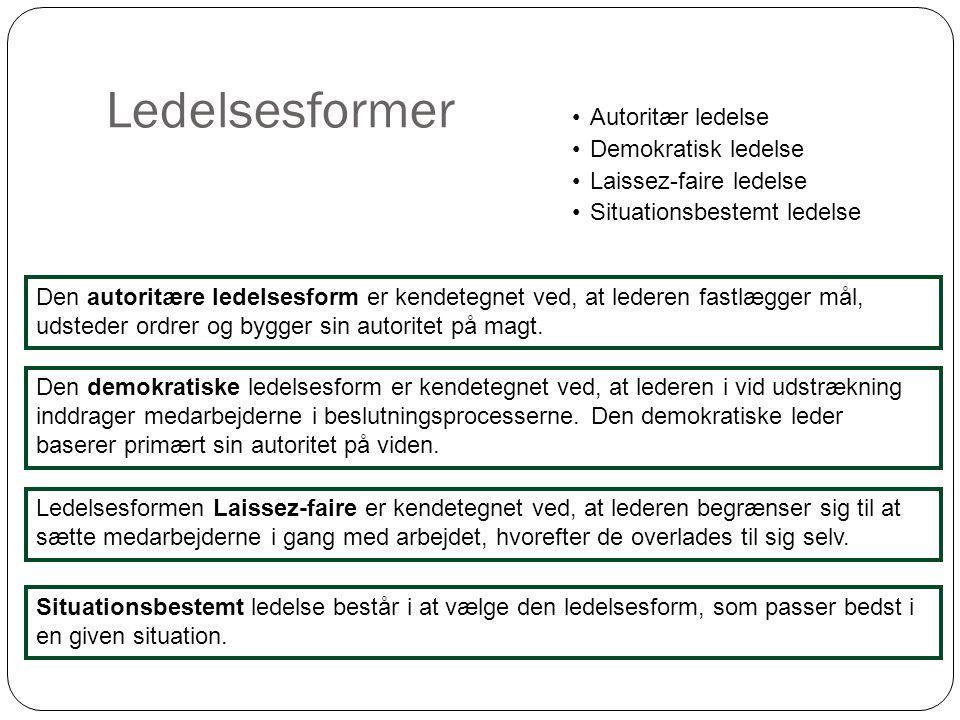 Ledelsesformer 6 •Autoritær ledelse •Demokratisk ledelse •Laissez-faire ledelse •Situationsbestemt ledelse Den autoritære ledelsesform er kendetegnet